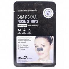 маски-полоски с древесным углем для очищения пор в области носа mbeauty charcoal nose strips