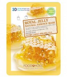 Тканевая 3D маска с экстрактом пчелиного маточного молочка FoodaHolic Royal Jelly Natural Essence Mask 23мл